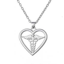 Wholesale Halloween Dress Nurse - Free shipping Medical Symbol Caduceus in Heart Pendant Necklace for Doctor And Nurse party dress jewelry