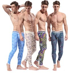 Wholesale Underwear Patterns Free - Wholesale-SL00483 Free Dropshipping Men's Pattern Printed Soft Long Johns Thermal Pants Cotton Underwear S M L XL