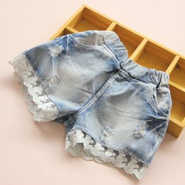 Wholesale Denim Pants Broken Girl - Summer Children Denim Shorts Korean Girl Lace Shorts Kid's Jeans Hot Pants broken tore up jeans Factory Sale Child Clothing wave ruffles 5