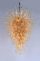 Vintage chrome deco on-line-Frete Grátis Delicado Blown Glass Chrome Iluminação de Teto Moda Estilo Penthouse Villa Sala de estar com Grande Lustre
