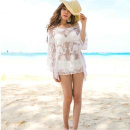 Wholesale Swimsuit Pareo Cover Up - Summer Bathing Suit Cover Up Bikini Swimwear White Print Chiffon Beach Tunic Top Pareo Sexy Swimsuit Beachwear For Lady