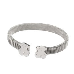 Wholesale 316l Chain - TL Silver Plated Stainless Steel Bear Bangle Bracelet 316L Hot Selling Classic Style Never Fade Gift