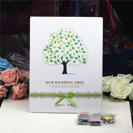 impronta digitale della pittura di nozze Sconti 2016 impronte digitali albero di nozze e calamaio libro degli ospiti di nozze albero firma unica libro degli ospiti decorazioni di nozze d'epoca forniture per feste