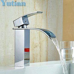Wholesale Waterfall Bathroom Vessel Sink Faucet - Free Shipping Wholesale And Retail Deck Mount Waterfall Bathroom Faucet Vanity Vessel Sinks Mixer Tap Cold And Hot Water Tap