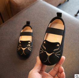 Wholesale Kids Cartoon Embroidery - Baby girls shoes children cute cat embroidery princess shoes Autumn kids non-slip comfortable casual footwear kids cartoon shoes R0905