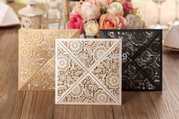 Wholesale Pearl Wedding Invitation Cards - Wholesale- Free Shipping 50pcs lot Affordable Pearl White Gold Black Floral Laser Cut Wedding Invitations Cards Elegant Wedding Invitations