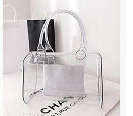 Wholesale Transparent Clear Tote - Fashion women candy color transparent bag Clear beach bags PVC leather bag shopping bag See-thru Bag Handbag Fashion New Womens Handbags