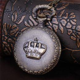 женские антикварные карманные часы Скидка Античная Корона Карманные Часы Кулон Бронзовый Рельеф Корона Круглый Брелок Часы Кварцевые Часы Медальон Ожерелья Женщины Рождественские украшения Подарок 230227