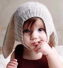 Wholesale Crochet Rabbit Ears - 4 Color INS Autumn Winter Toddler Infant Knitted Baby crochet Hats Adorable Rabbit Long Ear Hat Baby Bunny Beanie Caps Photo Props