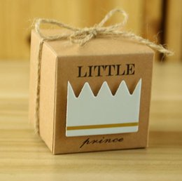 Wholesale Paper Crowns Christmas - Baby Shower Candy Box Little Prince Little Princess Crown Kraft Boxes Blue Pink Wedding Candy Box Festive Party Supplies