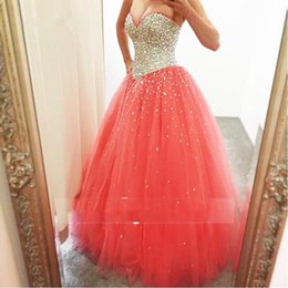 Wholesale Dresses Coral Watermelon - 2017 Shinning Quinceanera Dresses Sweetheart Watermelon Sequins Beads Girls Pageant Dresses For Teens Ball Gown Tulle Graduation Dreess