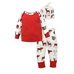 Wholesale Cute Baby Boys Clothing - Newborn Baby Outfits for Boys and Girls Christmas Theme Cute Baby Outfits for 2017 Xmas Gift Idea Cotton Reindeer Prints Baby Clothing Sets