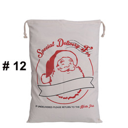 Wholesale Plastic Sack Bags - Christmas Large Canvas Bags 12 styles for choose Santa Claus Drawstring Bags With Reindeers cotton Christmas Gift Sack Bags
