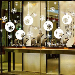 Wholesale Vinyl Decorative Christmas Stickers - Snow Town Christmas Wall Stickers Large Removable Window Glass Decorative Wall Decal Adornos Navidad Window Glass Decorative 77