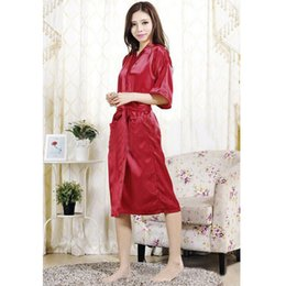 Wholesale Long Satin Nightdresses - Wholesale- Free Shipping Long Silk Robes For Women 2016 Hot Sale Nightdress Satin Lace Ladies Womens Silk Robes Women Sexy Black Satin