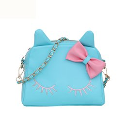 Wholesale Bow Cross Body Bag - The spring summer Classic style High quality PU chain bow kitten single shoulder bag lovely female bag ( 4 color for pick)
