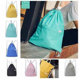 Wholesale Waterproof School Bags - Portable Drawstring Bag Travel Foldable Lightweight Backpack Women Men Waterproof School Bags Backpack 6 color KKA3212