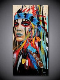 Wholesale Canvas Decors - Framed Pure Handpainted Abstract Indian Portrait Art Oil Painting On High Quality Canvas For Wall Decor in Multi Sizes Free Shipping