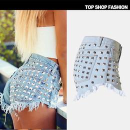 Wholesale Short Rivet Jeans - New Fashion women Ripped Jeans hole shorts vintage pants high waist Tassel Rivet Denim Sexy Hot trousers