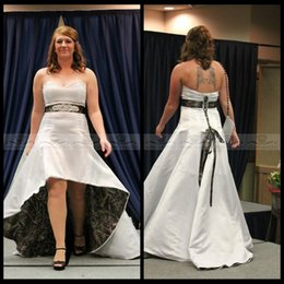 Wholesale Natural Waistline Wedding Dress - 2016 Sweetheart Beaded Crystal Waistline High Low Realtree Camo Wedding Dresses Plus Size Camouflage Lace Up Back Formal White Bridal Gowns