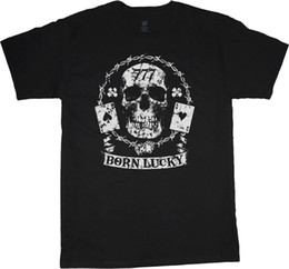 Wholesale Bikers T Shirts - Big and Tall T-shirt Born Lucky Skull Biker Decal Tee Shirt Tall Shirts for Men New Arrival Male Tees Casual Boy T-Shirt Tops Discounts