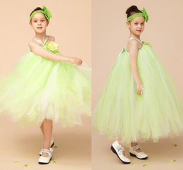 Wholesale Korean Wedding Dress Image - Gradient Mint Green Tulle Korean Ball Gowns Flower Girl Dress Tea Length Princess Girls Pageant Dresses Halter Birthday Party Dress MC0217