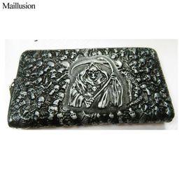 Браслет из натуральной кожи онлайн-Wholesale- Maillusion Men Wallets Genuine Leather Gents Wallet Wristlet Vintage 3D Skull Male Clutch Cartera Money  Coin Purses
