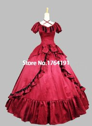 vestido negro victoriano corto Rebajas Personalizado 2016 a estrenar mangas cortas rojas / negras arco vestido victoriano lolita gótico del siglo XVIII para las mujeres