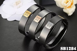 Wholesale Stainless Bangle Ladies - whosale free shipping stainless steel chhc letter black color ceramics bangle claseeis new styel lady bracelet