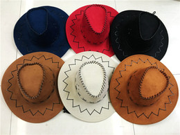 Wholesale Leather Costumes For Men - West Suede Cowboy Hat Summer Beach Sun Hat For Man Outdoor Leisure Cap Party Costume 8 Colors Available Free Shipping