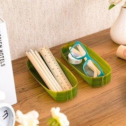 Wholesale Banana Plastic Box - Wholesale-Korea For Creative Stationery Banana Leaves Plastic Small Tray Diy Multifunctional Table Storage Box Desk Organizer Brush Pot Wz