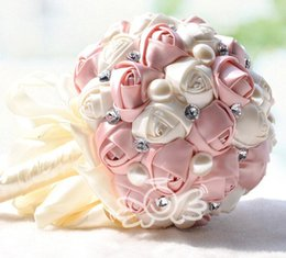 Wholesale Satin Rose Large - Wedding Bridal Bouquets with Handmade Flowers Large Size Peals Crystal Rhinestone Rose Wedding Supplies Bride Holding Brooch Bouquet 2016