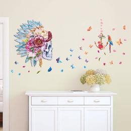 Wholesale Bird Butterfly Wall Decor - Beautiful Butterfly Skull Flower And Parrot Birds Backdrop Home Decor Living Room Wall Art Decal Home Decration