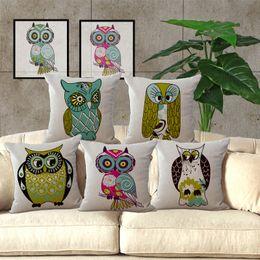 2019 modèle de couverture de siège de chaise Bande dessinée Big Eye Owl Country Series Motif Seat hug Taie d'oreiller décoratif Home Chair Throw Taie d'oreiller 45 * 45cm 240488 modèle de couverture de siège de chaise pas cher
