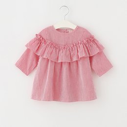 Wholesale Striped Kids Cotton Lace Dress - Korean Style Girls dress Autumn Stripe Ruffle Children Princess Dresses Sweet Fashion Kids Casual Tops Girl Clothes C1891