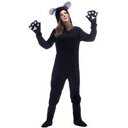 Wholesale Animal Pajamas For Adults - Halloween Black Cat Cosplay Costumes For Adult Women Pajamas Animal Black Dog Bear Halloween Clothing Unisex Cat Onesies Suit PS014