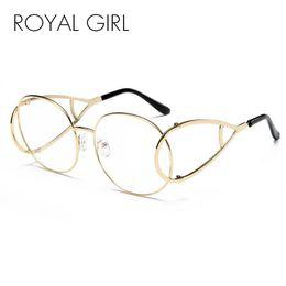 Wholesale Models Sunglass Men - Wholesale- ROYAL GIRL Fashion Women Sunglass Spectacles Vintage Oval Modelling Metal Frame Eyewear Clear Lens Glasses ss115