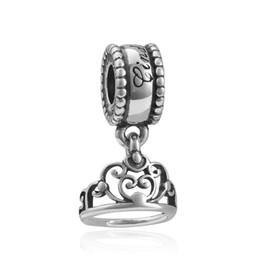 Wholesale Big Chunky Beads - Fits Pandora Bracelets Charm Beads 925 Silver Chunky Charm Beads Fit Diy European Big Hole women crown wedding charm for Charm Chain