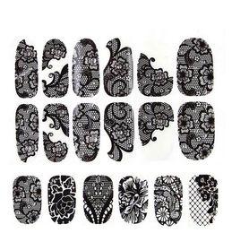 calcomanías comerciales Rebajas Nuevas ventas de comercio exterior pegatinas de esmalte de uñas de encaje negro Calcomanías Nail Art Stickers Calcomanías Manicura 16styles 12 uñas de palo 4159