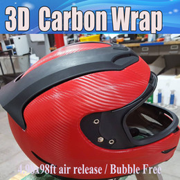 Wholesale 3d Red Carbon Fiber - Red 3D Carbon Fiber vinyl Carbon Fibre Car wrapping Film sheets With Air Drain For vehicle covers foil vinyle 1.52x30m Roll