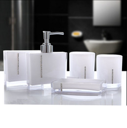 Wholesale Soap Dishes Bath - Acrylic Five Pieces Set Bath Wash Set Gift Bathroom Supplies Diamond Cup Brush Lovers Soap Dish Toothbrush Holder