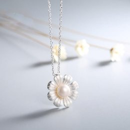 Wholesale Fresh Water Plants - S990 silver pearl necklaces pendants fresh water pearl necklace S990 pure silver sunflower sweater chain fashion jewelry