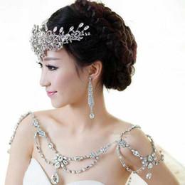 Wholesale Ladies Dress Jackets Wedding - Fashion Charm Wedding Bridal Bridesmaid Ladies Flowers Crystal Rhinestone Shoulder Full Body Chain Necklace Jewelry Set Dress Wrap Jacket