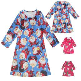 Wholesale Deer Print Dress - New baby girls Christmas deer Santa Claus Snowman dress cartoon Children Xmas printing princess dresses Kids Clothing C2665