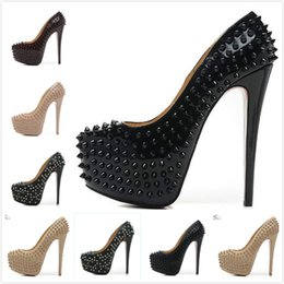 Wholesale Women High Heels 16cm - New Fashion Womens Sexy Pointed Toe 16cm High Heels,Ladies Thin Heel 6cm Platform Pumps Full Spikes Leather Dress Shoes 35-42 Free shipping