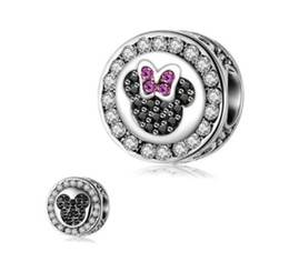 Wholesale Face Beads - Fits Pandora Bracelets 30pc Double Face Mickey & Minnie 925Silver Charm Bead Charms For Wholesale Diy European Necklace Snake Chain Bracelet
