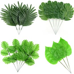 Wholesale Artificial Plant Large - 12Pcs 4Kind Large Artificial Fake Monstera Palm tree Leaves Green Plastic Leaf Wedding DIY Decoration Cheap Flowers Leaves Plant