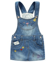 Wholesale Denim Wash Dress - Harper style Girls denim dress summer Autumn Children clothing cute overall dresses cartoon cat Strap washed denim USA exported wholesale