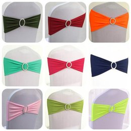 Wholesale Tied Chair Bow - Spandex Lycra Wedding Chair Cover Sash Bands Elastic Stretch Banquet Chair Bow Ties With Round Buckle For Hotel Event c173