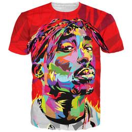 Wholesale 3d ties - New fashion hip hop tie dye 3d t shirt tupac 2pac t shirt casual tee shirts women men summer harajuku style tops tees camisetas